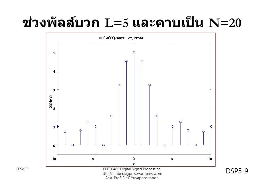ช่วงพัลส์บวก L=5 และคาบเป็น N=20