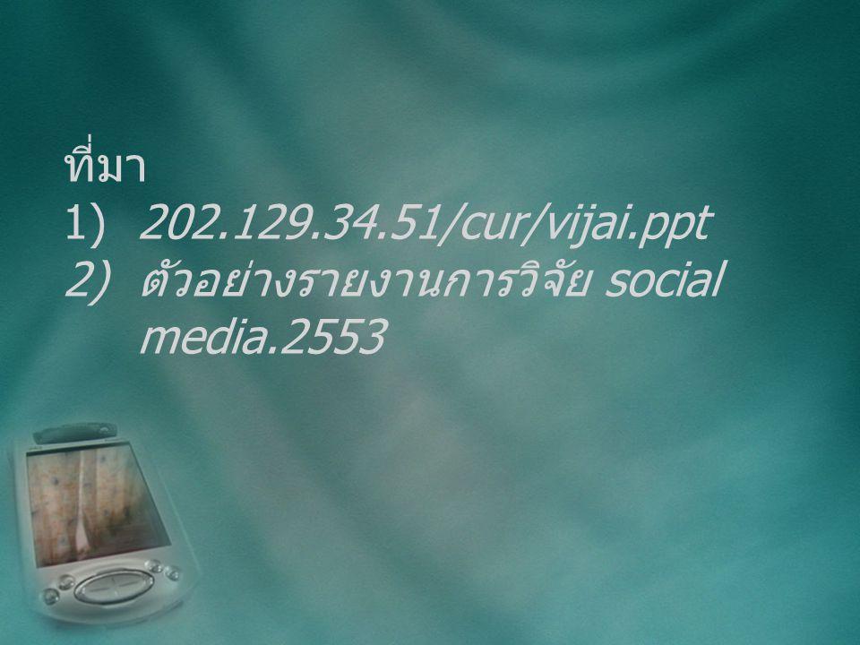 ที่มา 1) 202.129.34.51/cur/vijai.ppt 2) ตัวอย่างรายงานการวิจัย social media.2553
