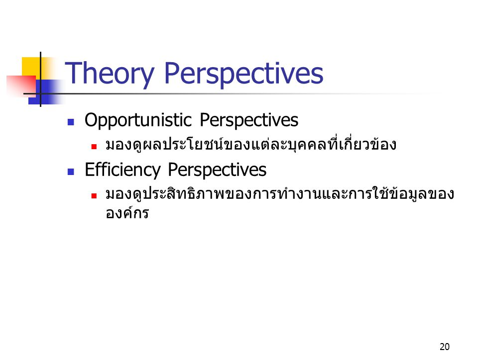 Theory Perspectives Opportunistic Perspectives Efficiency Perspectives