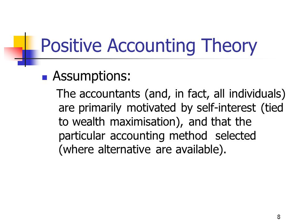 positive accounting theory and banking 1-16 of 35 results for positive accounting theory positive organizing in a global society: understanding and engaging differences for capacity building and.