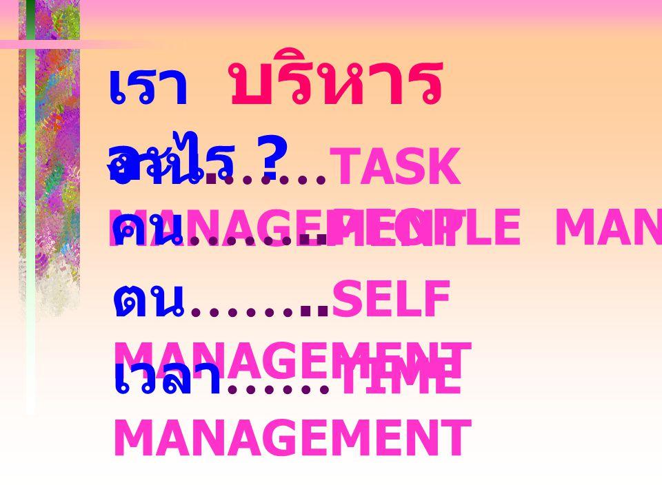 เรา บริหาร อะไร งาน.……TASK MANAGEMENT คน……..PEOPLE MANAGEMENT