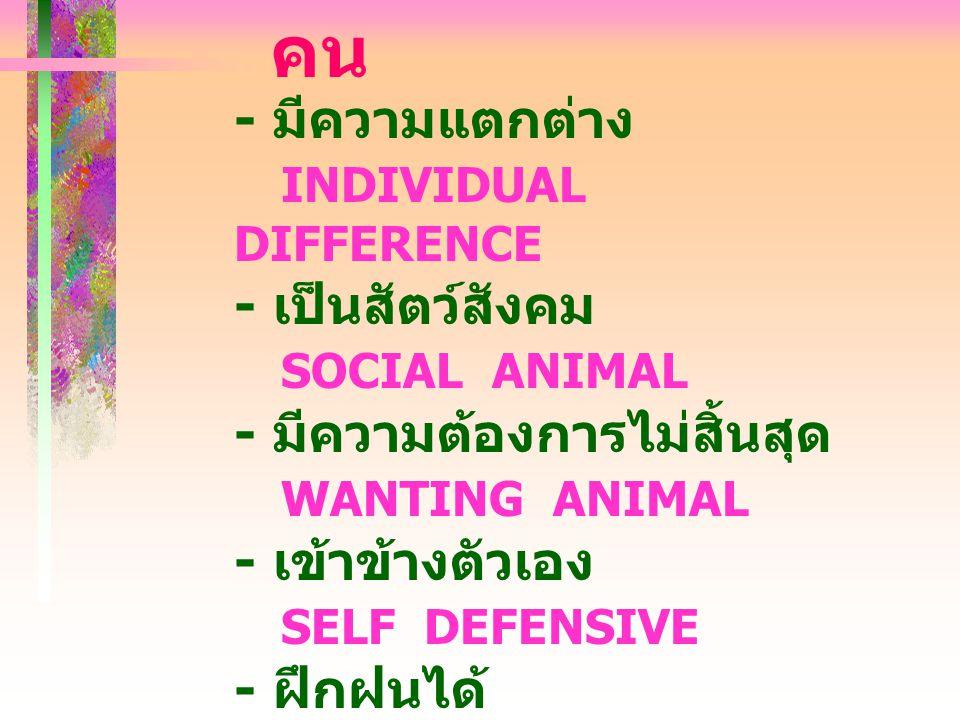 คน - มีความแตกต่าง INDIVIDUAL DIFFERENCE - เป็นสัตว์สังคม