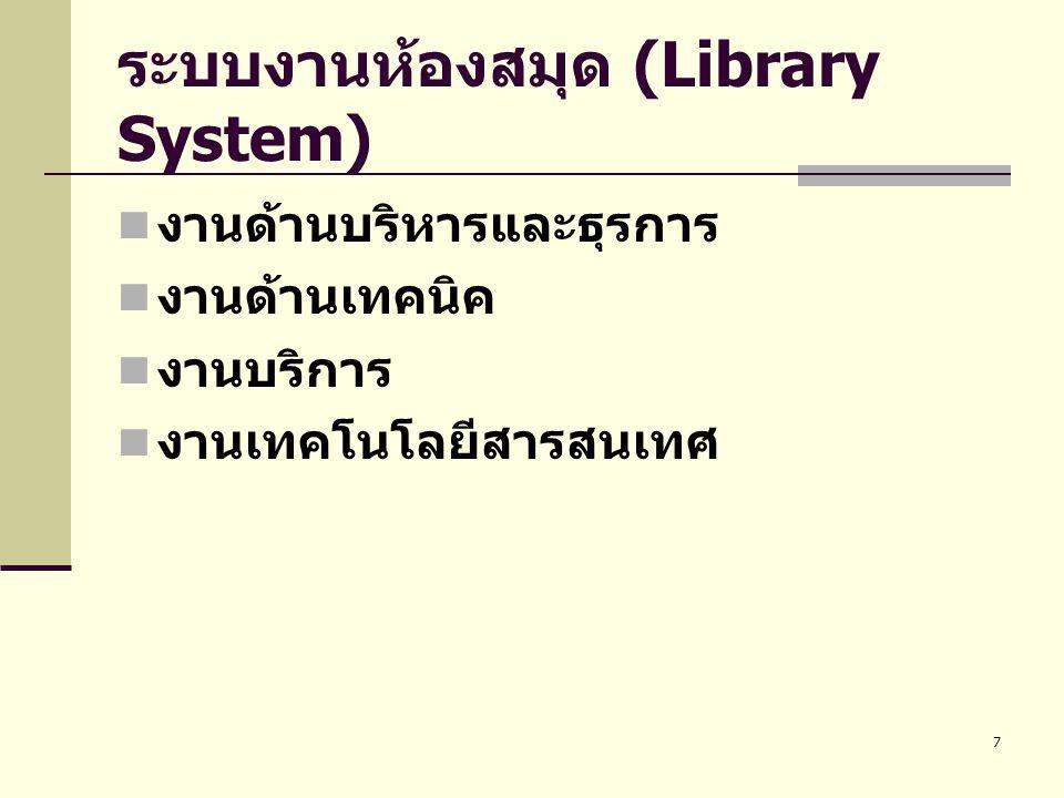 ระบบงานห้องสมุด (Library System)