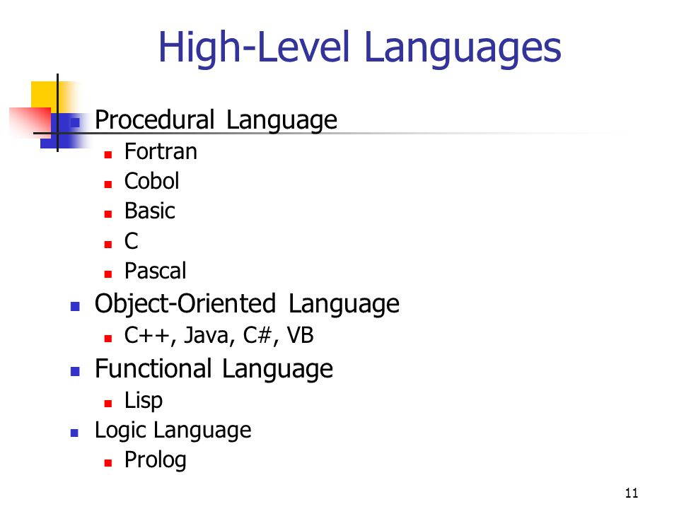 High-Level Languages Procedural Language Object-Oriented Language
