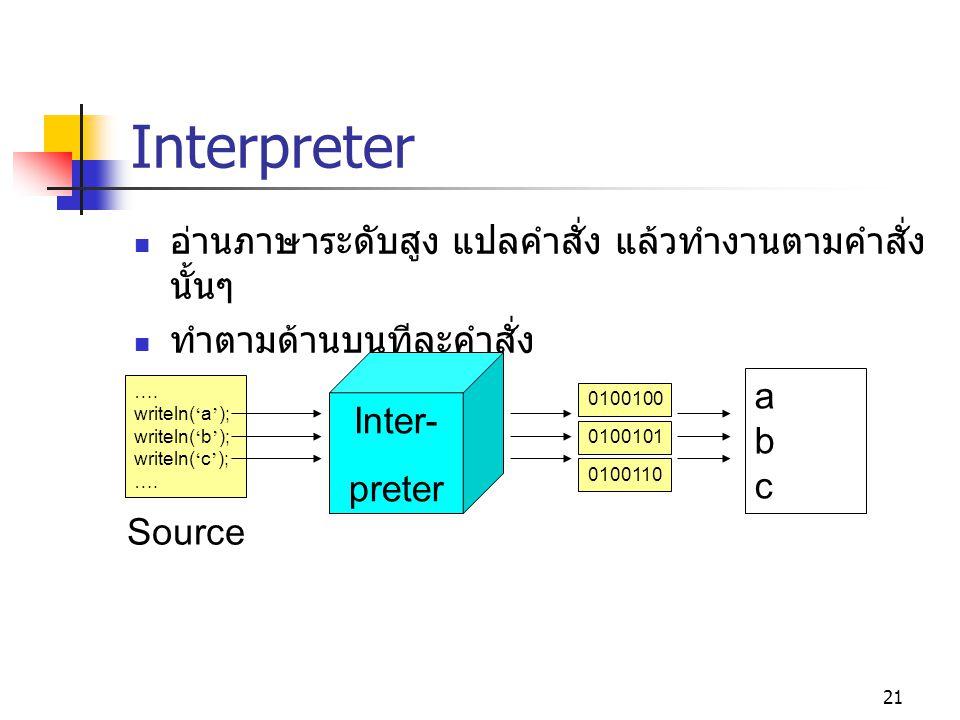 Interpreter อ่านภาษาระดับสูง แปลคำสั่ง แล้วทำงานตามคำสั่งนั้นๆ