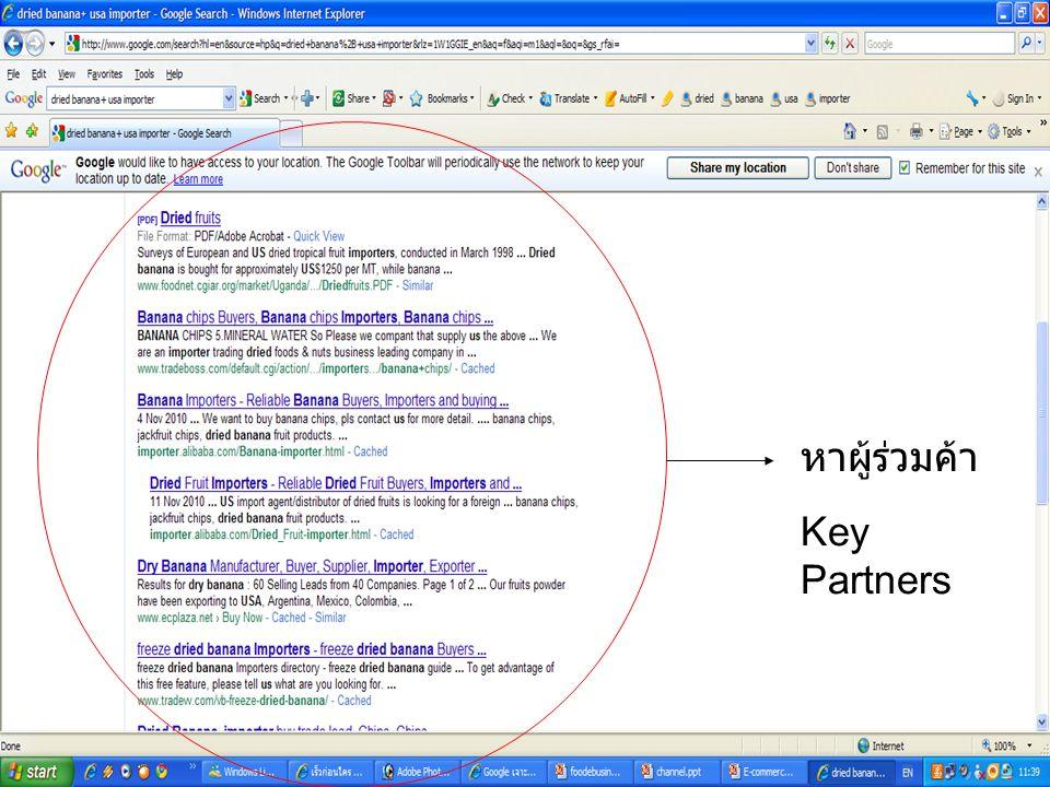 หาผู้ร่วมค้า Key Partners