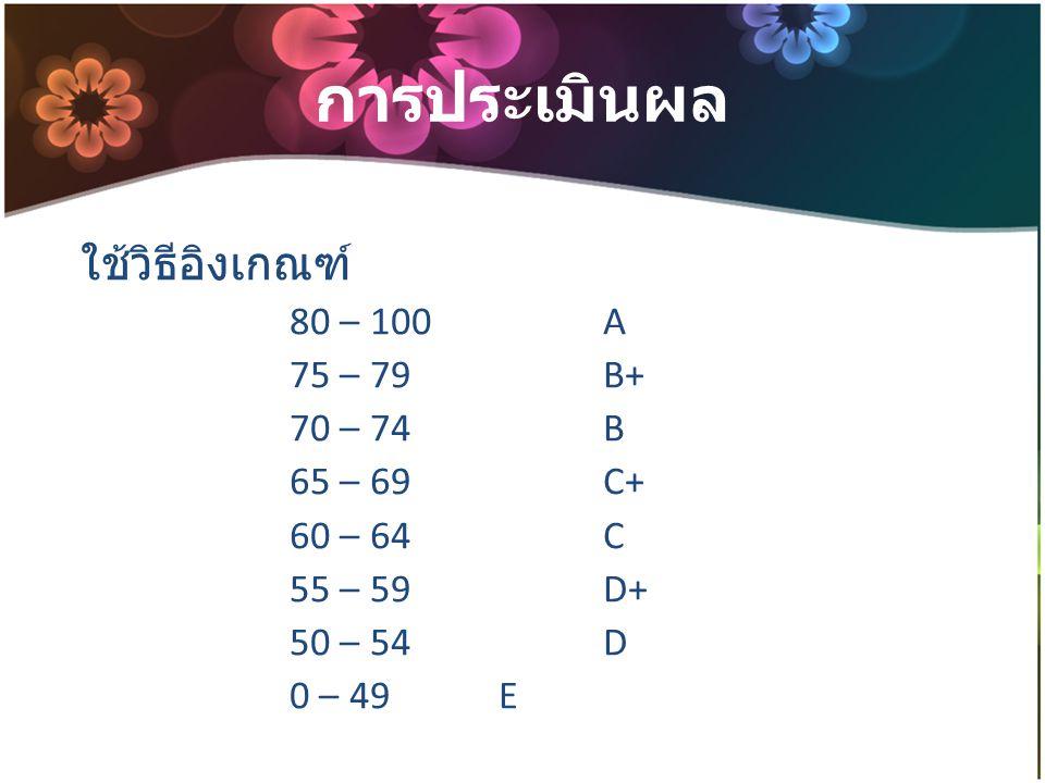 การประเมินผล ใช้วิธีอิงเกณฑ์ 80 – 100 A 75 – 79 B+ 70 – 74 B
