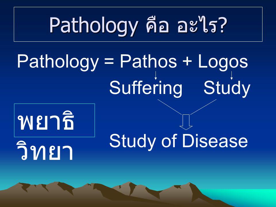 พยาธิวิทยา Pathology คือ อะไร Pathology = Pathos + Logos