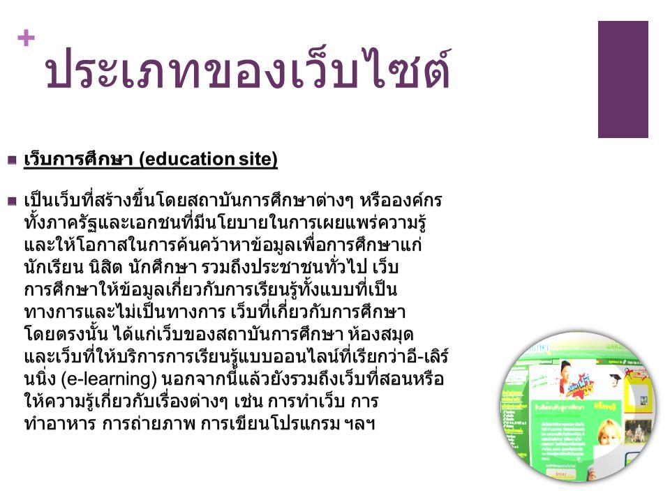 ประเภทของเว็บไซต์ เว็บการศึกษา (education site)