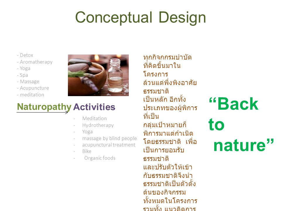 Back to nature Conceptual Design Naturopathy Activities