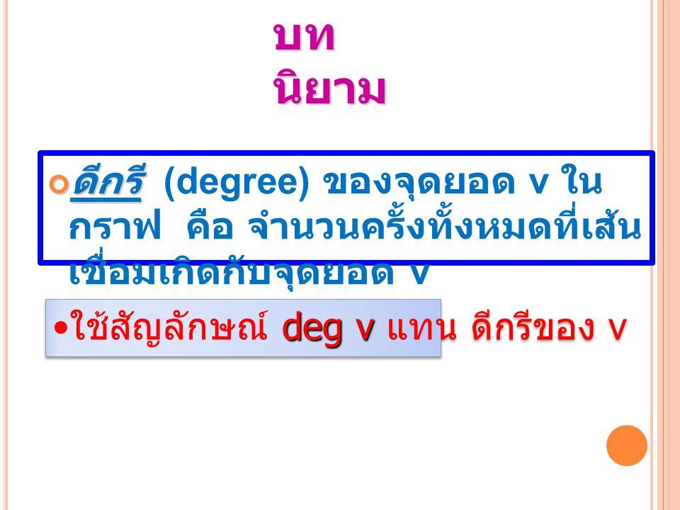 บทนิยาม ดีกรี (degree) ของจุดยอด v ในกราฟ คือ จำนวนครั้ง ทั้งหมดที่เส้นเชื่อมเกิดกับจุดยอด v.