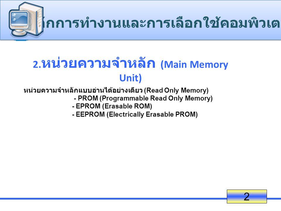 2.หน่วยความจำหลัก (Main Memory Unit)