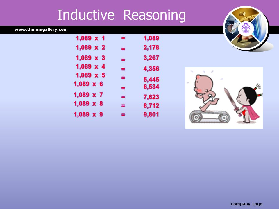 Inductive Reasoning 1,089 x 1 = 1,089 1,089 x 2 = 2,178 1,089 x 3