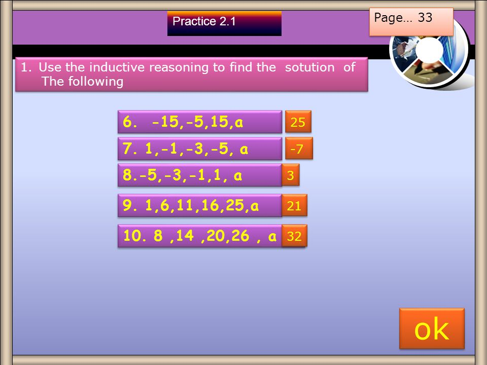 Page… 33 Practice 2.1. Use the inductive reasoning to find the sotution of. The following ,-5,15,a.