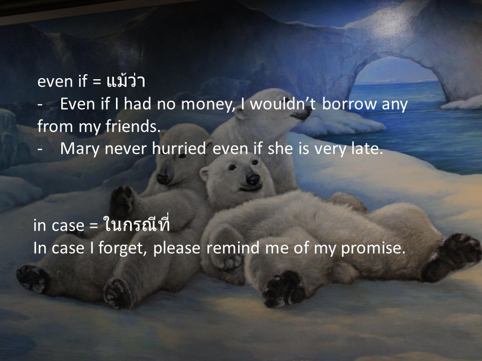 even if = แม้ว่า - Even if I had no money, I wouldn't borrow any from my friends. - Mary never hurried even if she is very late.