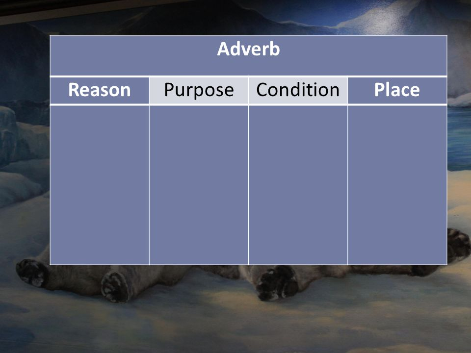 Adverb Reason Purpose Condition Place