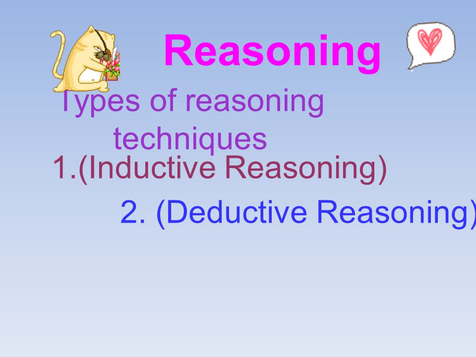 Reasoning Types of reasoning techniques 1.(Inductive Reasoning)
