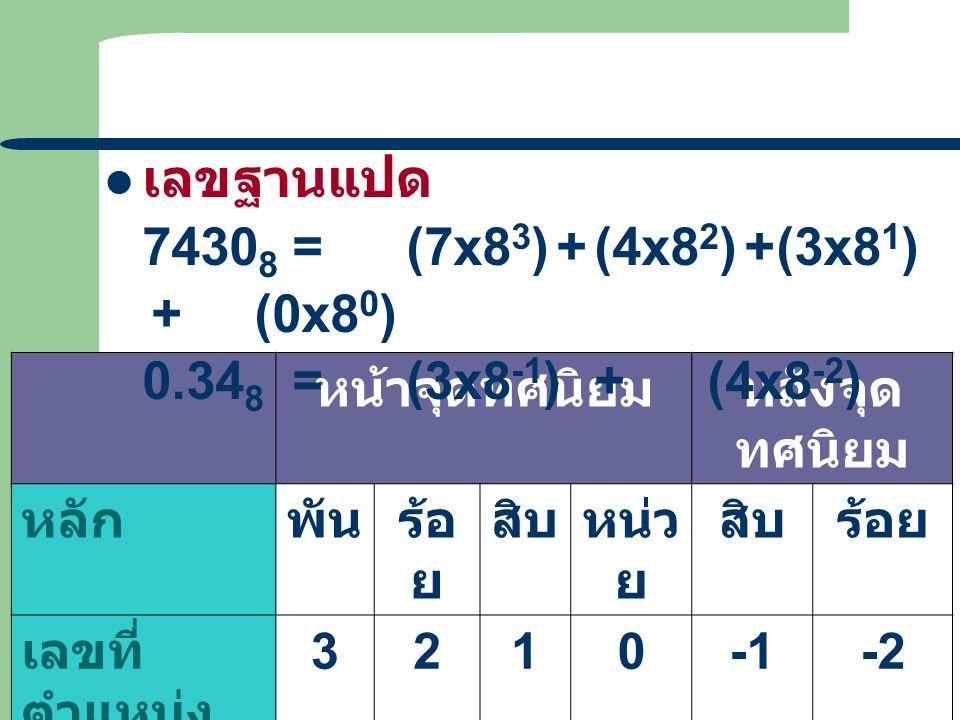 เลขฐานแปด 74308 = (7x83) + (4x82) + (3x81) + (0x80)