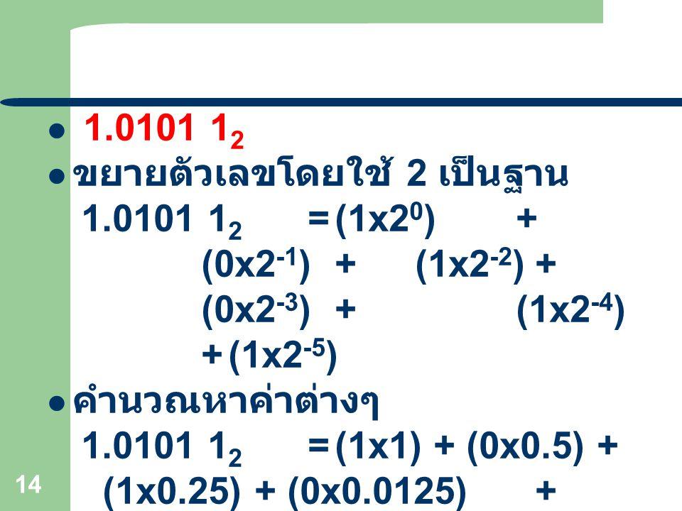 1.0101 12 ขยายตัวเลขโดยใช้ 2 เป็นฐาน. 1.0101 12 = (1x20) + (0x2-1) + (1x2-2) + (0x2-3) + (1x2-4) + (1x2-5)