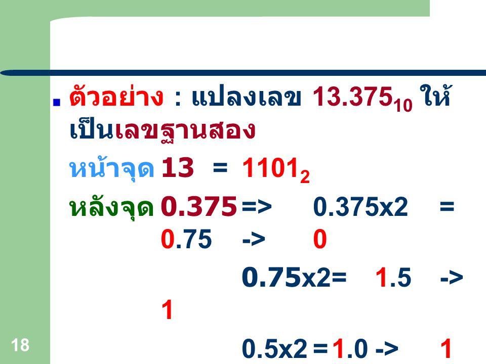 ตัวอย่าง : แปลงเลข 13.37510 ให้เป็นเลขฐานสอง