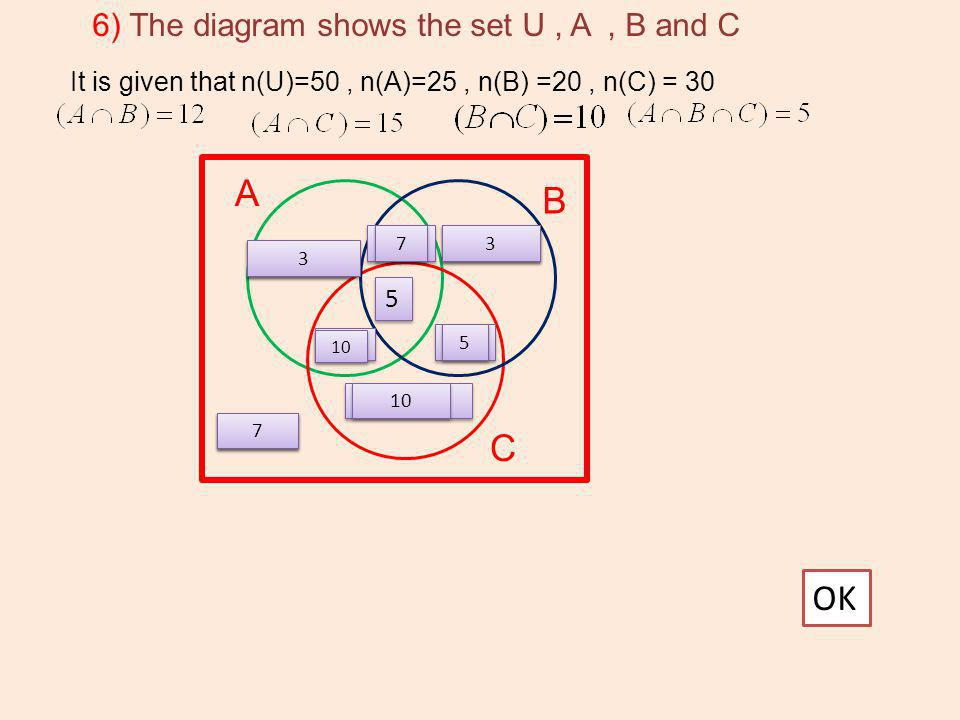 A B C OK 6) The diagram shows the set U , A , B and C