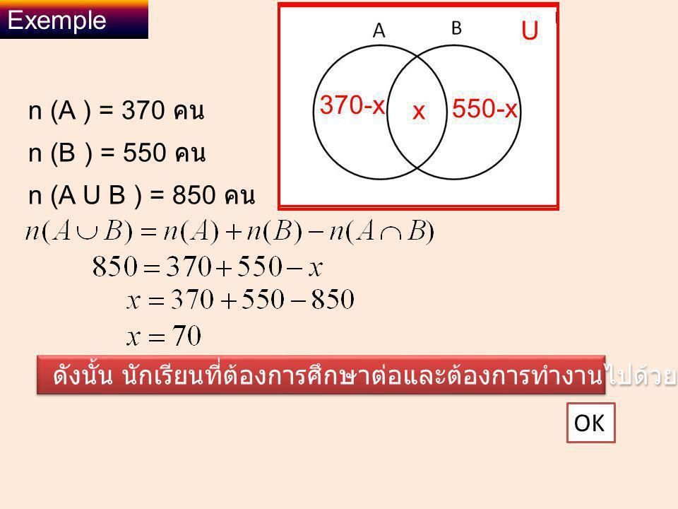 Exemple U. 370-x. n (A ) = 370 คน. x. 550-x. n (B ) = 550 คน. n (A U B ) = 850 คน.