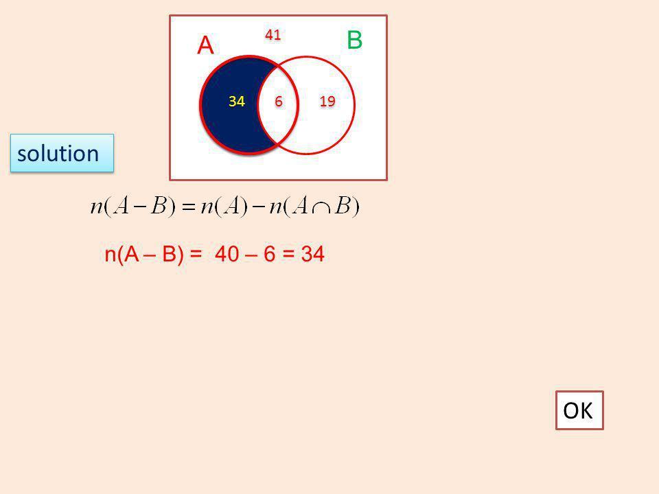 41 B A 34 6 19 solution n(A – B) = 40 – 6 = 34 OK