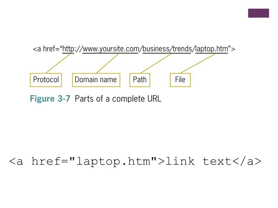 <a href= laptop.htm >link text</a>