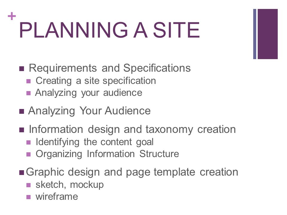 PLANNING A SITE Requirements and Specifications