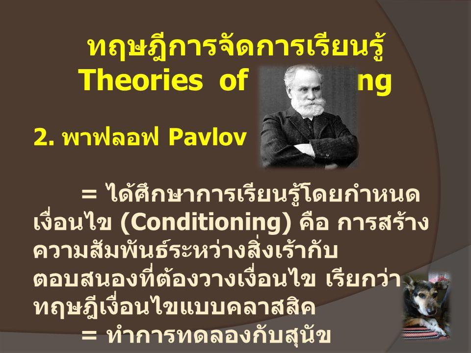 ทฤษฎีการจัดการเรียนรู้ Theories of Learning