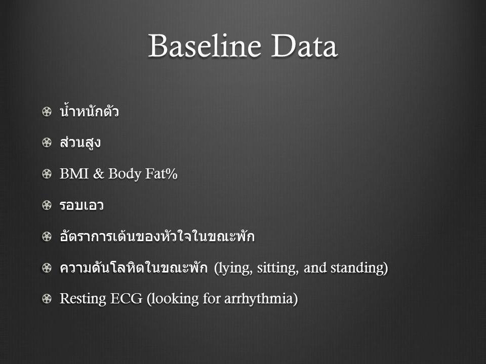 Baseline Data น้ำหนักตัว ส่วนสูง BMI & Body Fat% รอบเอว