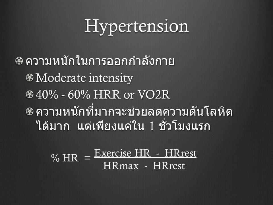 Hypertension ความหนักในการออกกำลังกาย Moderate intensity