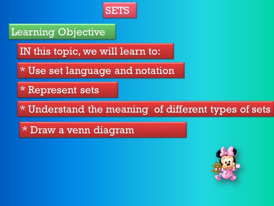 SETS Learning Objective. IN this topic, we will learn to: * Use set language and notation. * Represent sets.