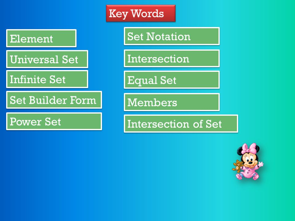 Key Words Set Notation. Element. Universal Set. Intersection. Infinite Set. Equal Set. Set Builder Form.