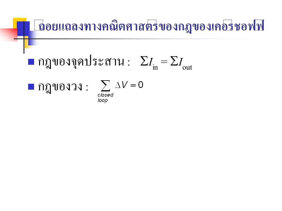 ถ้อยแถลงทางคณิตศาสตร์ของกฎของเคอร์ชอฟฟ์