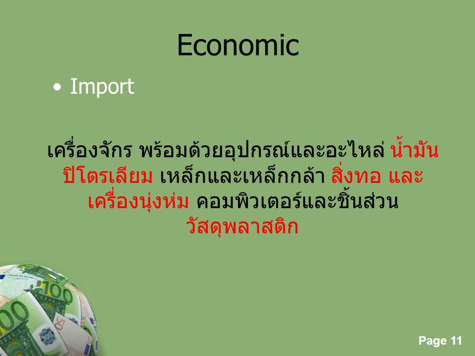 Economic Import. เครื่องจักร พร้อมด้วยอุปกรณ์และอะไหล่ น้ำมันปิโตรเลียม เหล็กและเหล็กกล้า สิ่งทอ และเครื่องนุ่งห่ม คอมพิวเตอร์และชิ้นส่วน.