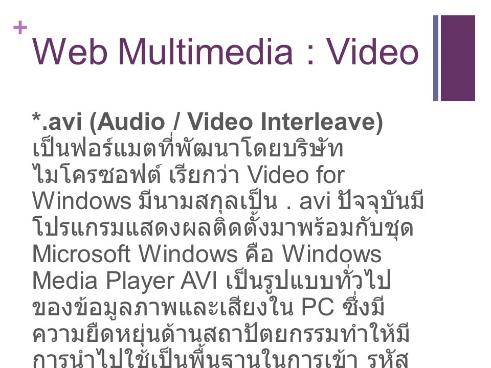 Web Multimedia : Video