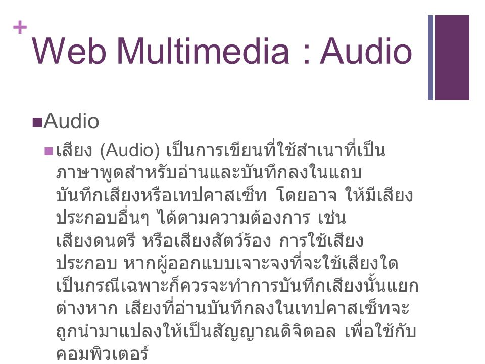 Web Multimedia : Audio Audio