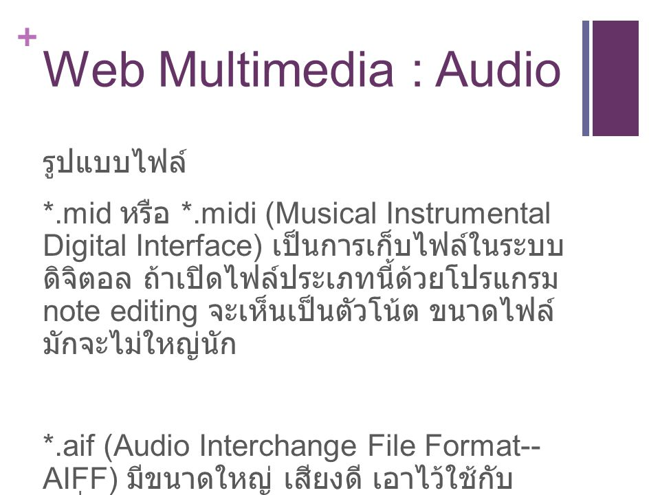 Web Multimedia : Audio