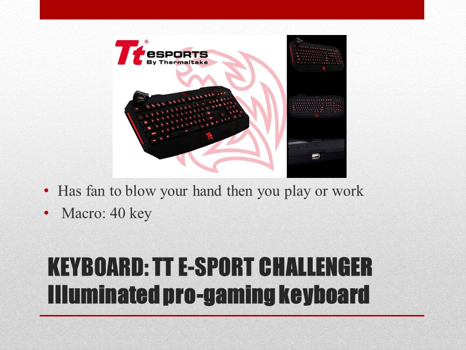 KEYBOARD: TT E-SPORT CHALLENGER Illuminated pro-gaming keyboard