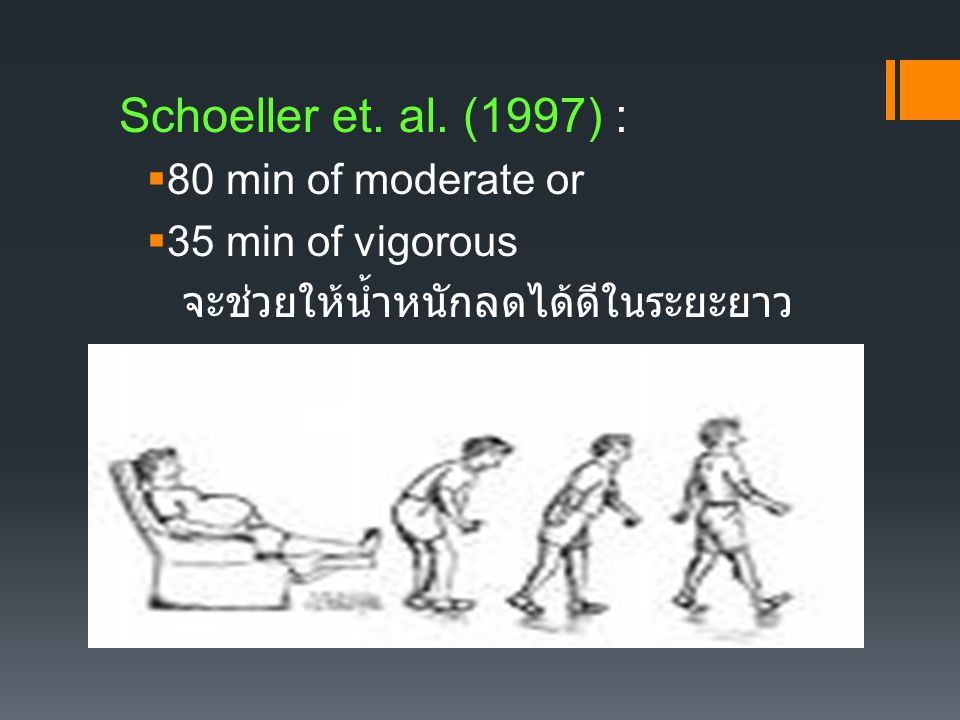 Schoeller et. al. (1997) : 80 min of moderate or 35 min of vigorous