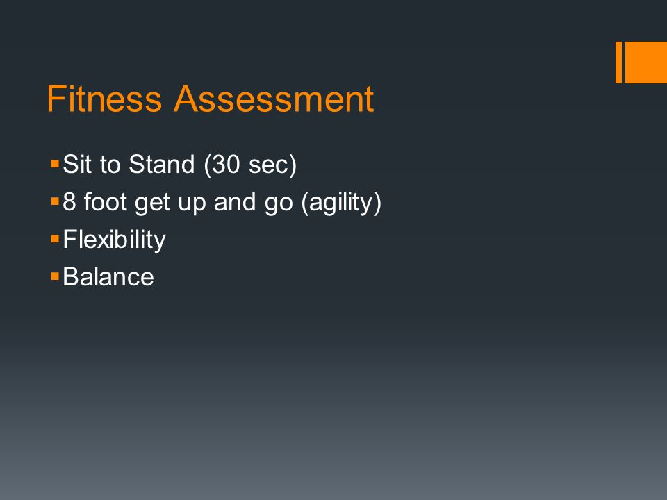 Fitness Assessment Sit to Stand (30 sec)