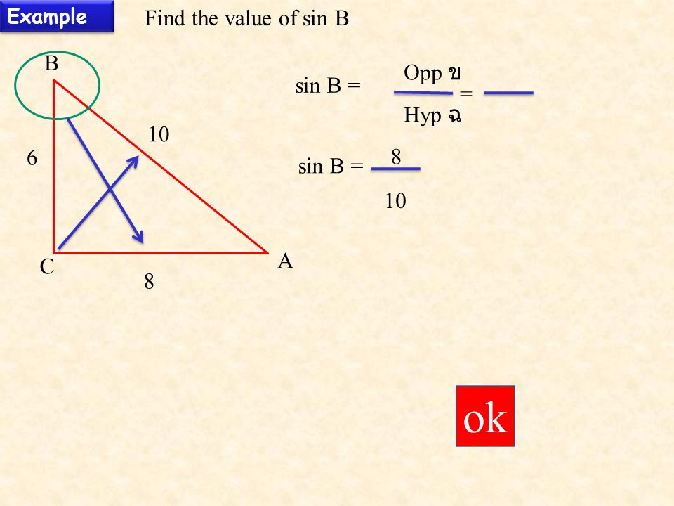 ok Find the value of sin B B Opp ข sin B = = Hyp ฉ 10 6 8 sin B = 10 A