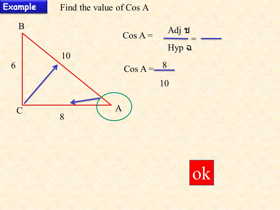 ok Find the value of Cos A B Adj ช Cos A = = Hyp ฉ Cos A = 10 A