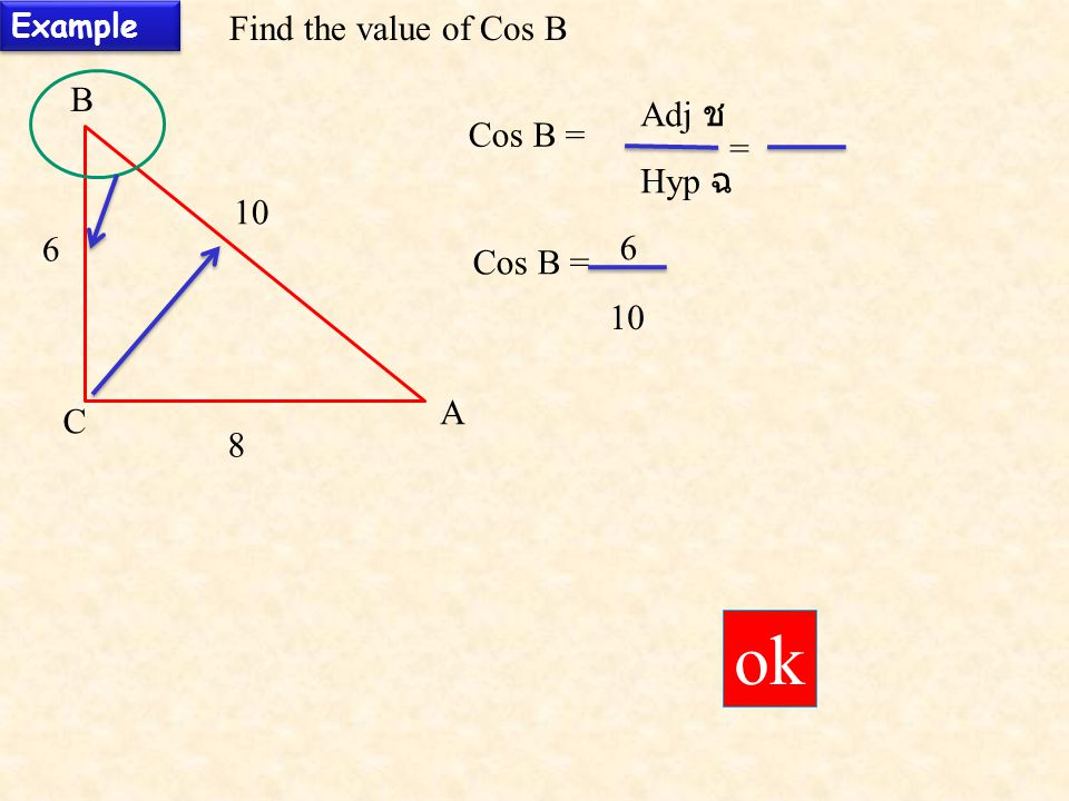 ok Find the value of Cos B B Adj ช Cos B = = Hyp ฉ 10 6 6 Cos B = 10 A