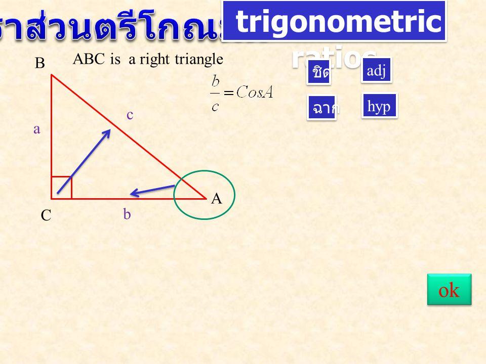 อัตราส่วนตรีโกณมิติ trigonometric ratios ok ABC is a right triangle B