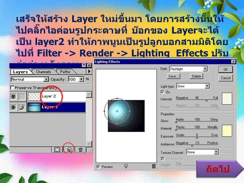 เสร็จให้สร้าง Layer ใหม่ขึ้นมา โดยการสร้างนั้นให้ไปคลิ๊กไอค่อนรูปกระดาษที่ บ๊อกของ Layerจะได้เป็น layer2 ทำให้ภาพนูนเป็นรูปลูกบอกสามมิติโดยไปที่ Filter -> Render -> Lighting Effects ปรับค่าต่างๆดังภาพ