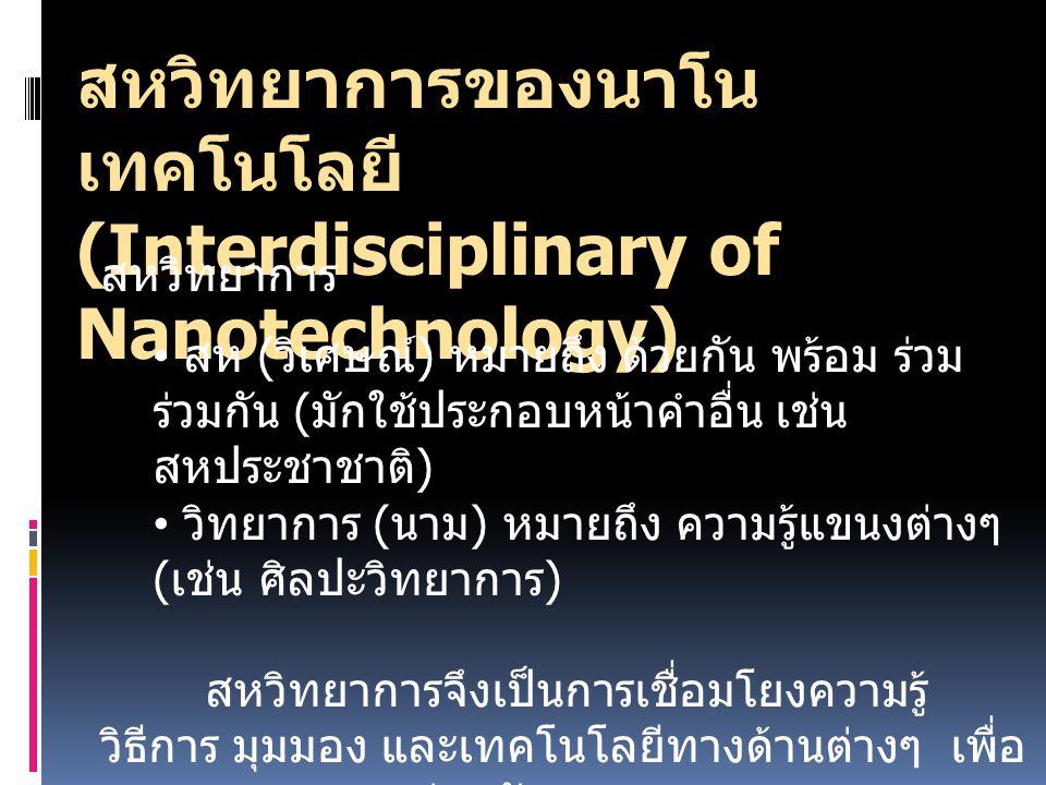 สหวิทยาการของนาโนเทคโนโลยี (Interdisciplinary of Nanotechnology)