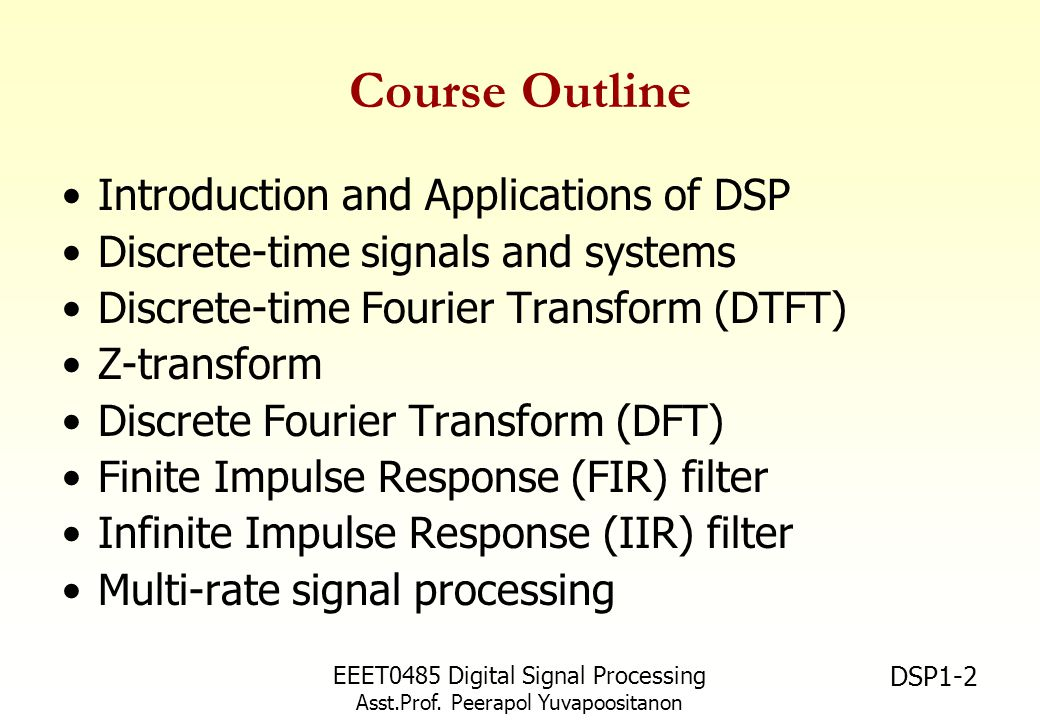 Course Outline Introduction and Applications of DSP