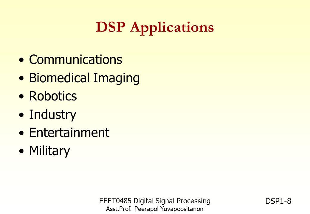 DSP Applications Communications Biomedical Imaging Robotics Industry